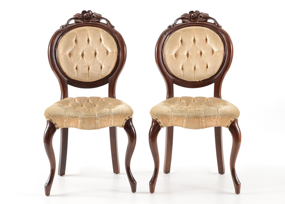 Pair Of Kimball Cherry Victorian Style Side Chairs ...