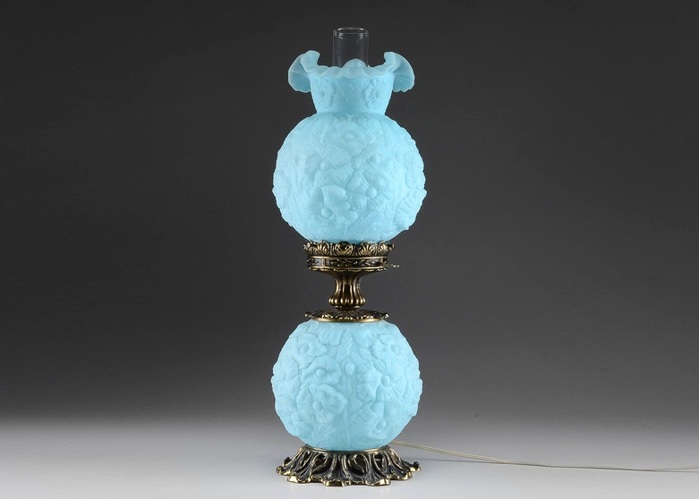 Circa 1970 Fenton Light Blue Poppy Gone With The Wind Style Lamp ...