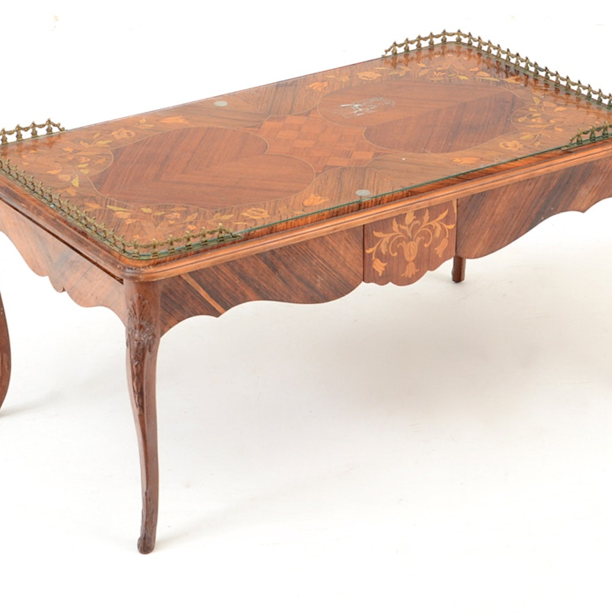 French Inlaid Wood Coffee Table with Metal Rim ... - French Inlaid Wood Coffee Table With Metal Rim : EBTH