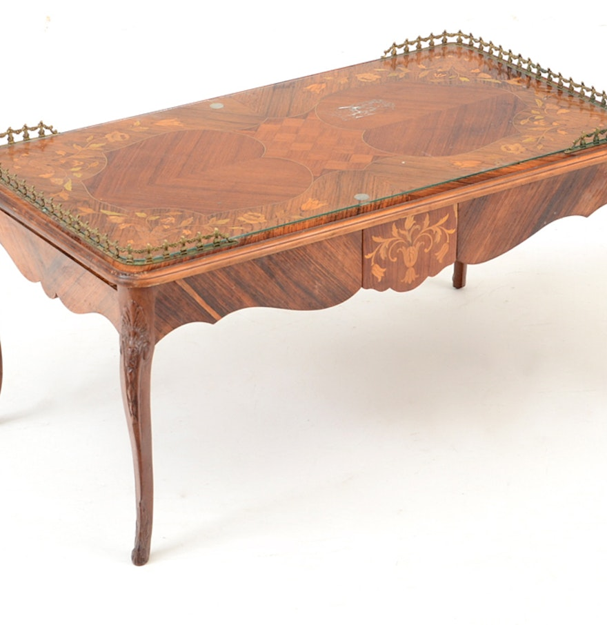 French Wood Coffee Table: French Inlaid Wood Coffee Table With Metal Rim : EBTH