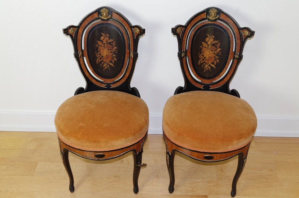 Pair Of French Side Chairs Mahogany Inlay Late 1800s ...