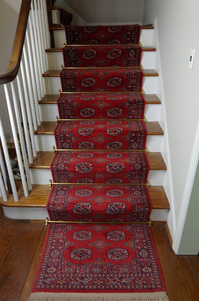Superieur Pair Of Bokhara Wool Carpet Runners With Brass Stair Rods ...