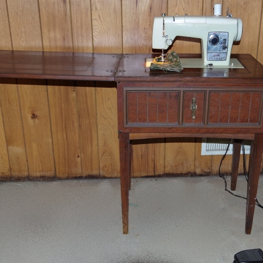 Vintage Sears Kenmore Sewing Machine In Cabinet EBTH Beauteous Antique Kenmore Sewing Machine With Cabinet