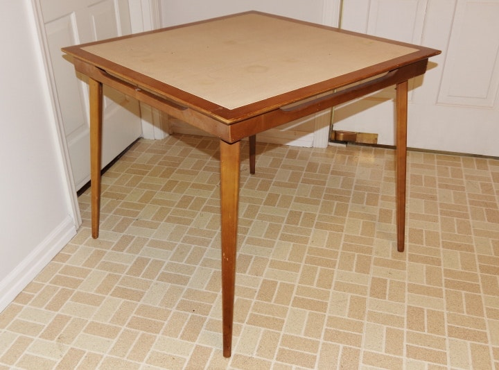 Mid Century Danish Modern Folding Card Table ...