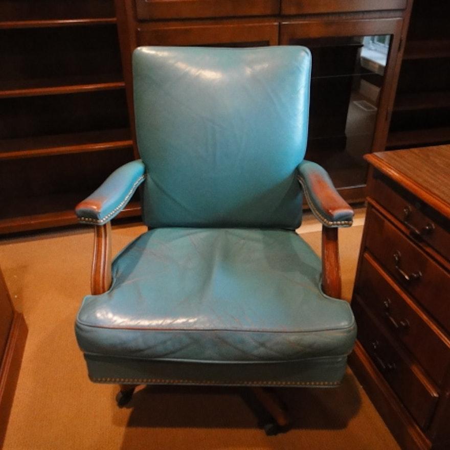 Vintage Gunlocke Co Leather Office Chair Ebth