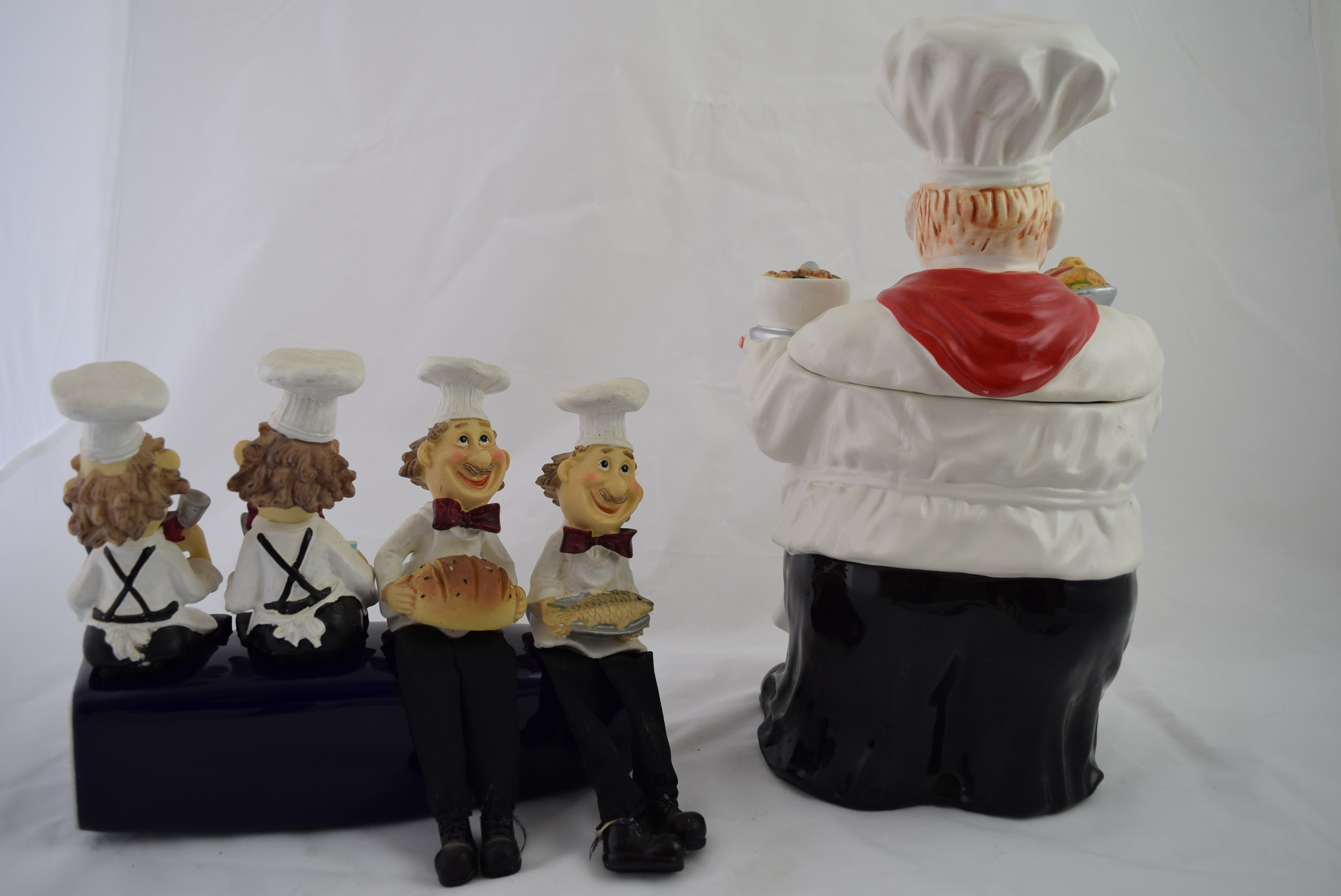 Quot Fat Ilalian Chef Quot Canister And Figurine Shelf Sitters Ebth