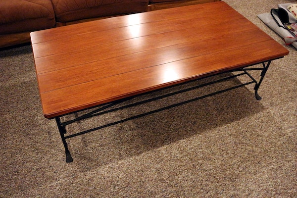 Wrought Iron And Wood Coffee Table Ebth
