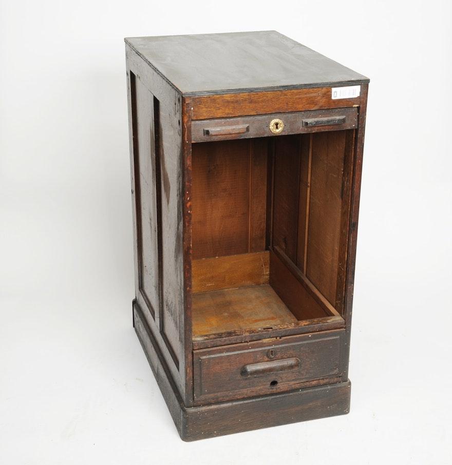 Antique Cash Register Stand With Roll Up Tambour Door Ebth