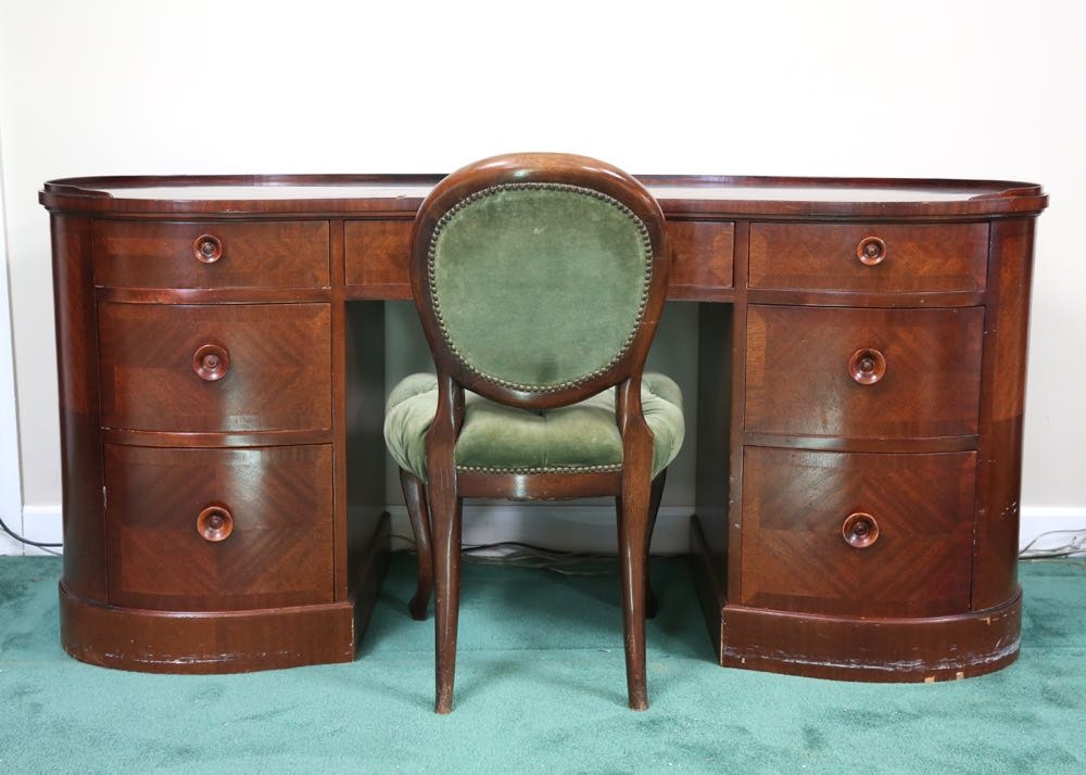 Kidney Shaped Wood Desk And Chair