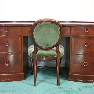 Kidney Shaped Wood Desk and Chair - Vintage Desks, Antique Desks And Used Desks Auction In Winchester