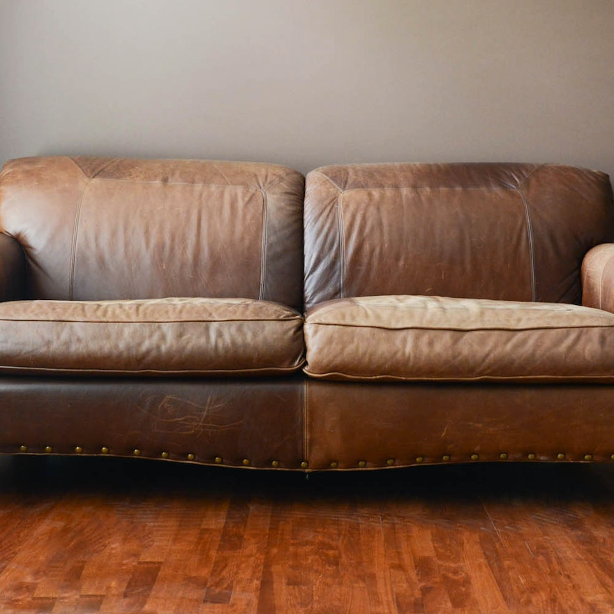 Rustic Lodge Style Leather Sofa By La Z Boy