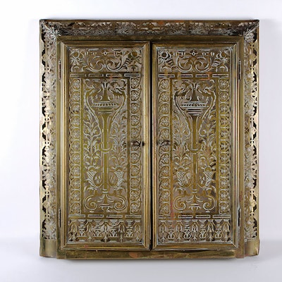 Intricately Pierced Patinated Brass Wall Cabinet - Vintage And Antique Cabinets Auction In Louisville, Kentucky