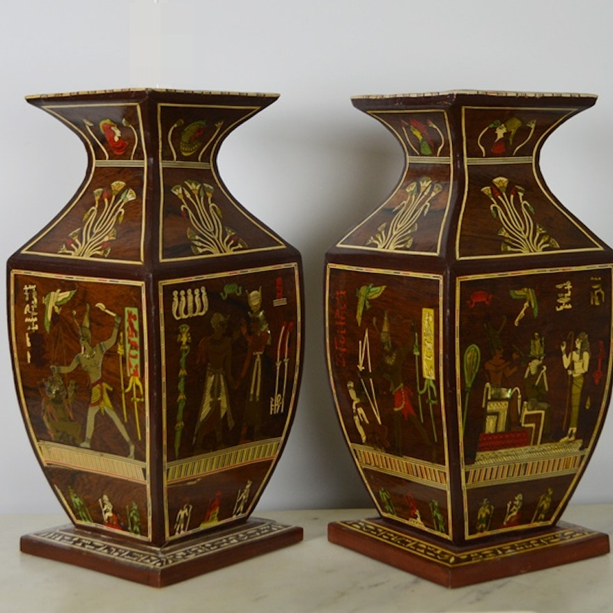 Pair Of Egyptian Wood Vases With Inlay Ebth