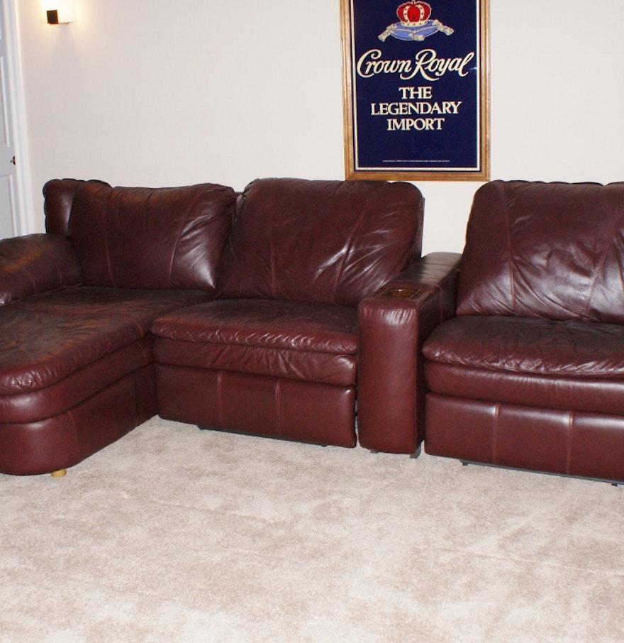 Lane burgundy leather reclining sofa ebth for Leather sectional sofa lane