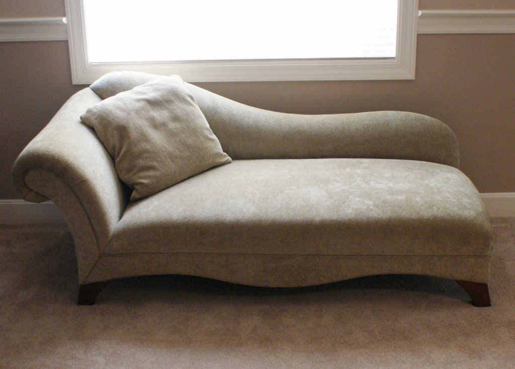 Contemporary Chenille Chaise Lounge ... : chenille chaise lounge - Sectionals, Sofas & Couches