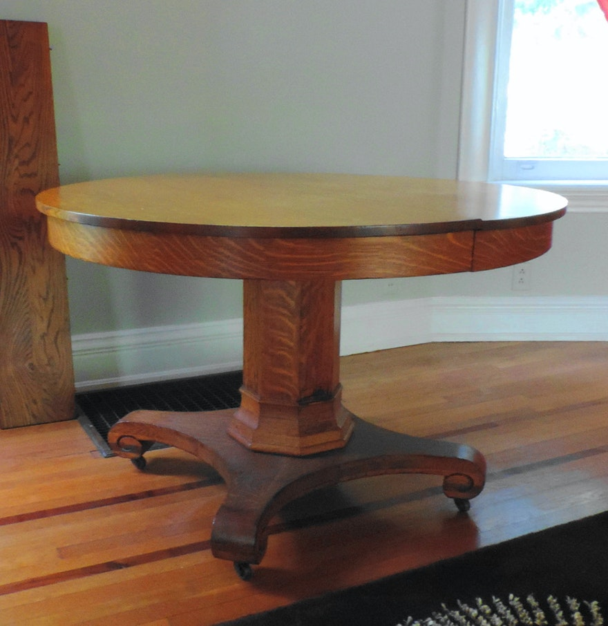 Antique Quarter Sawn Oak Pedestal Dining Table With Three