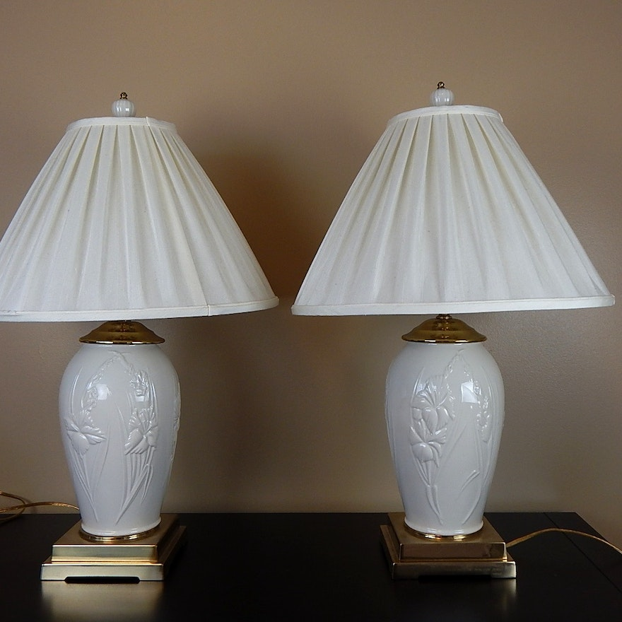 Pair of lenox china table lamps ebth pair of lenox china table lamps aloadofball Images