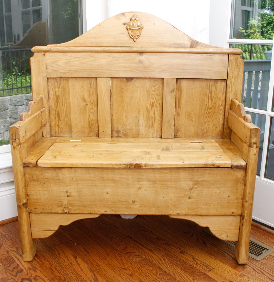 Pine Deacons Bench Made From Antique Timbers Ebth
