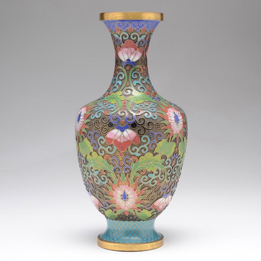 Circa 1930 Chinese Champlev Vase Ebth