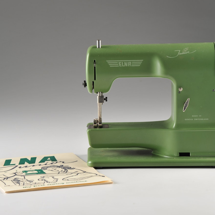 Vintage ELNA Junior Sewing Machine EBTH Adorable Elna Junior Sewing Machine
