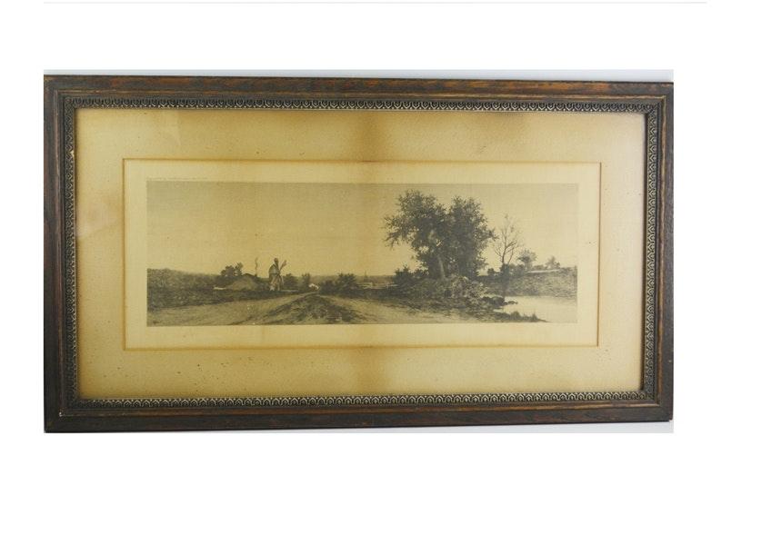 Antique Landscape Etching By E C Rost Ebth