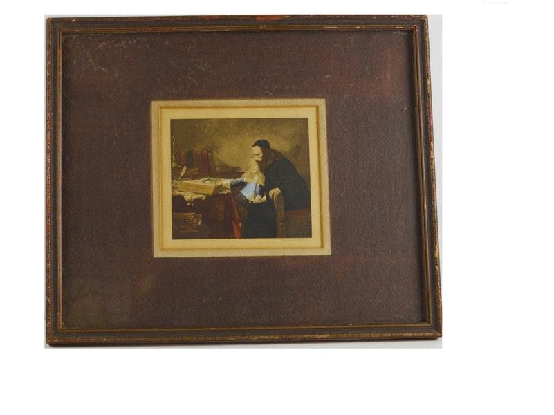 "S. Hirszenberg ""Uriel d'Acosta Instructing...Young Spinoza"" Print"
