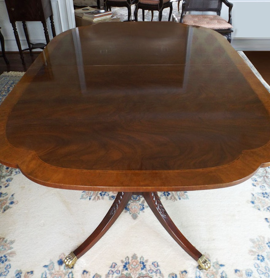 Duncan Phyfe Style Dining Table - Baker furniture duncan phyfe style mahogany dining table