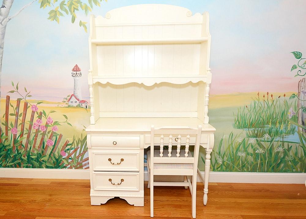 White Lexington Desk With Chair ...