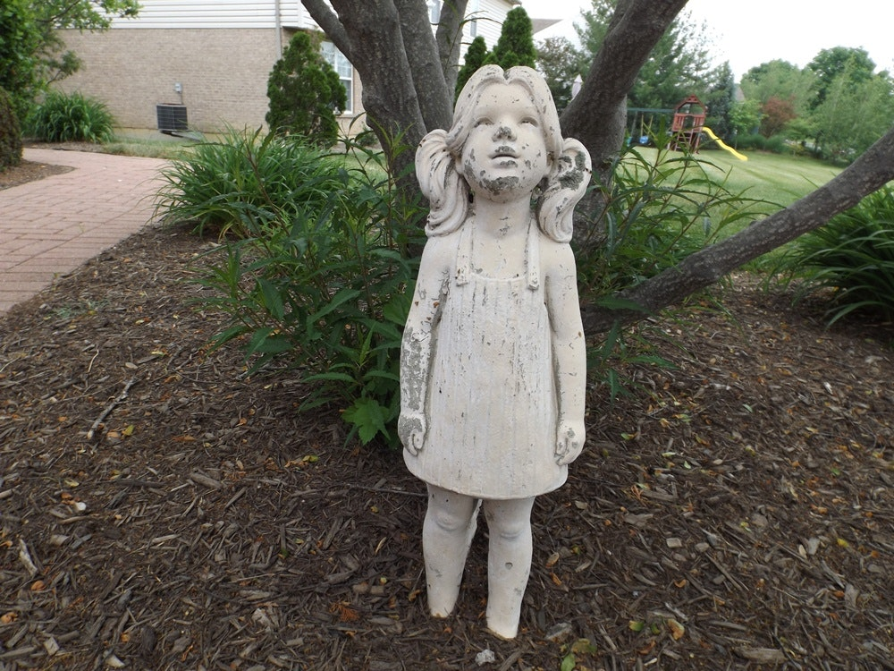 Beautiful Concrete Garden Statue Of A Young Girl ...
