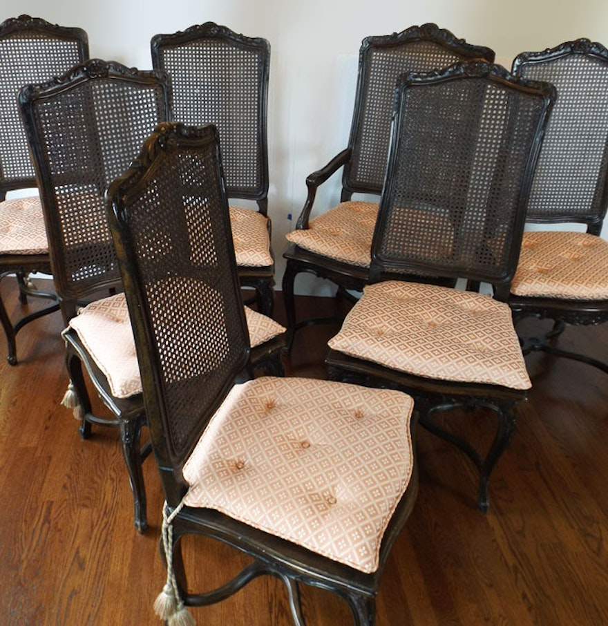 Set of Eight Louis XV Style Cane Back Dining Chairs : EBTH