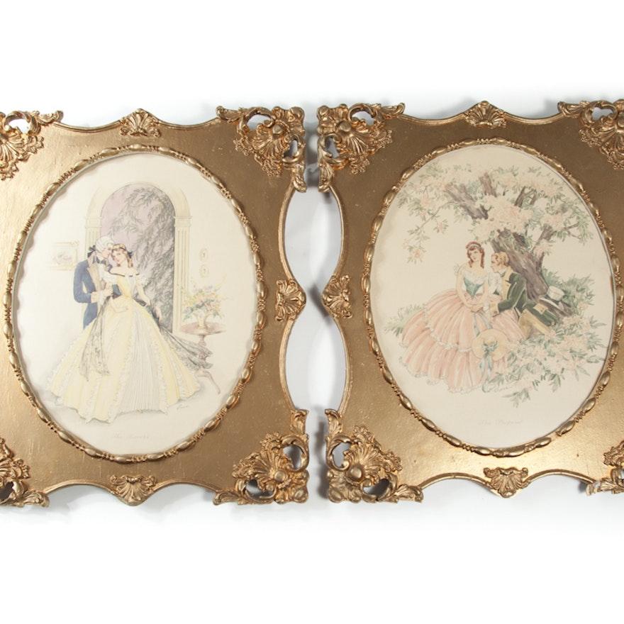 Vintage Pair of Framed Signed \
