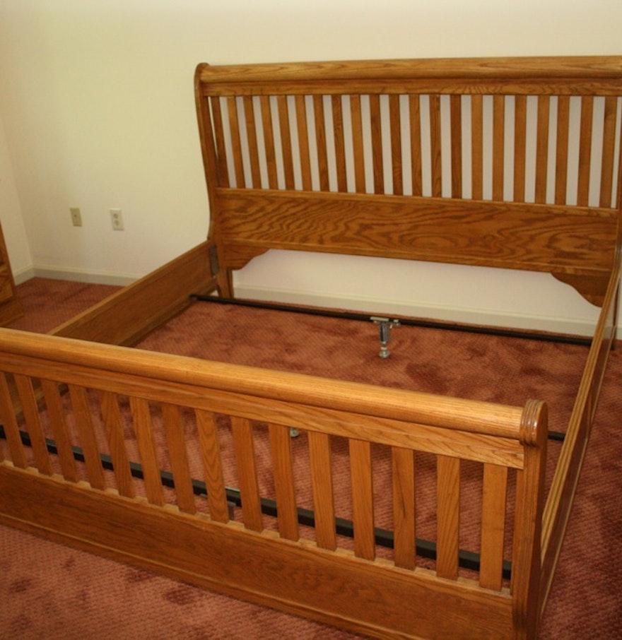 king size oak slat back sleigh bed