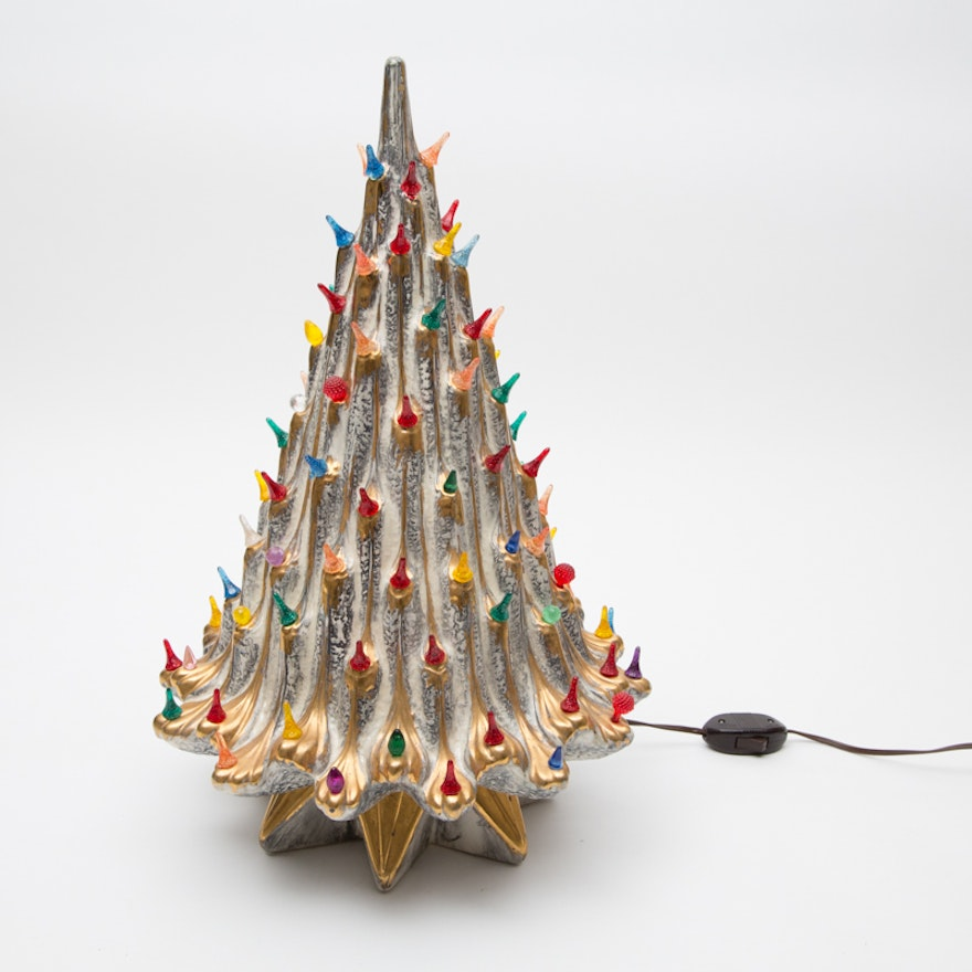 vintage silver ceramic christmas tree