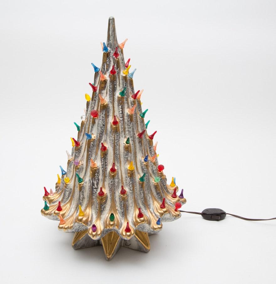 vintage silver ceramic christmas tree - Vintage Silver Christmas Tree