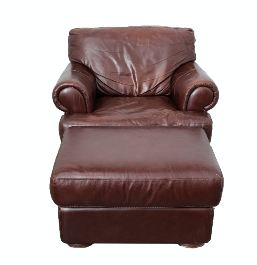 Over sized brown leather armchair ottoman ebth for Armchair with ottoman