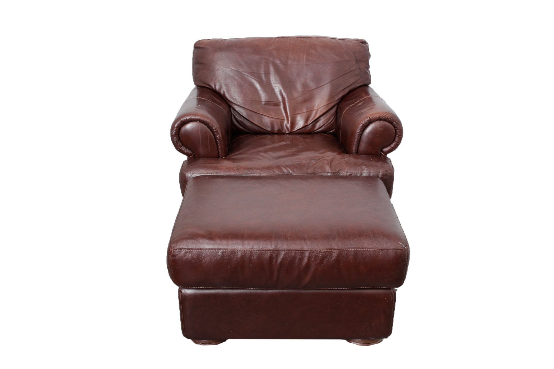 Over-sized Brown Leather Armchair u0026 Ottoman : EBTH