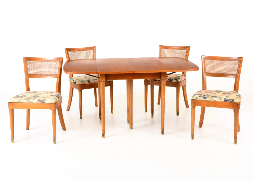 Drexel Walnut Dining Table And Four Chairs