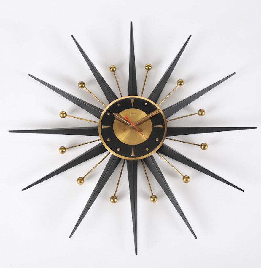 welby mid century modern atomic starburst wall clock  ebth - welby mid century modern atomic starburst wall clock