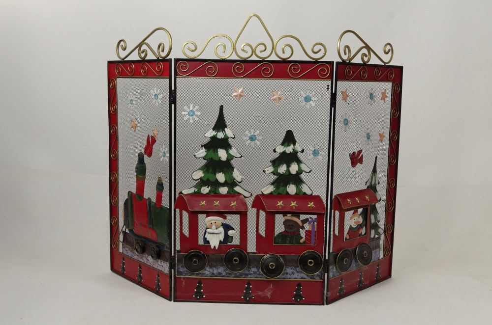Hand Painted Metal Christmas Fireplace Screen EBTH