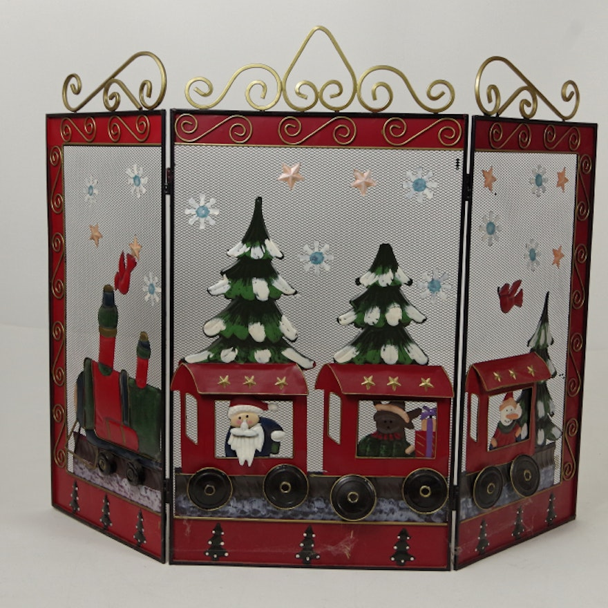 hand painted metal christmas fireplace screen