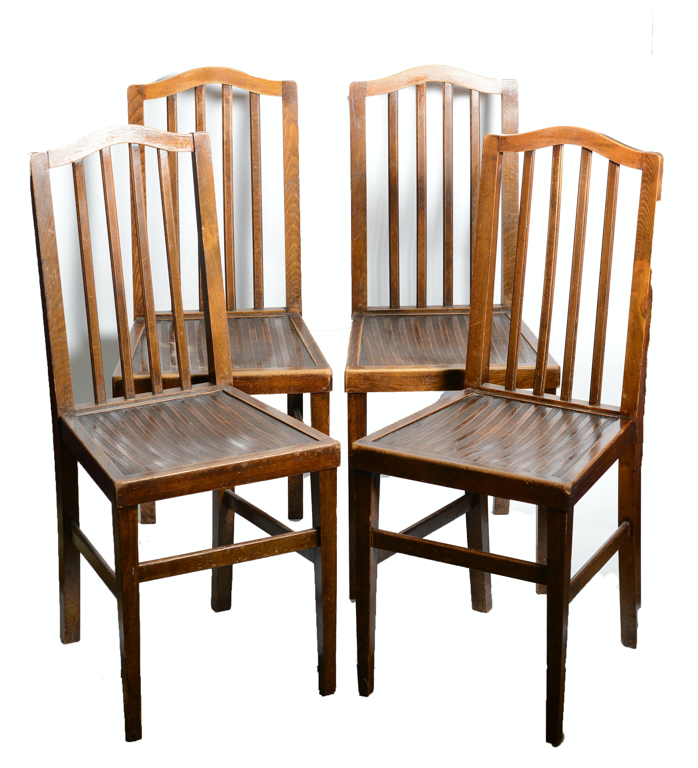 Set Of Four Vintage Wood Dining Chairs