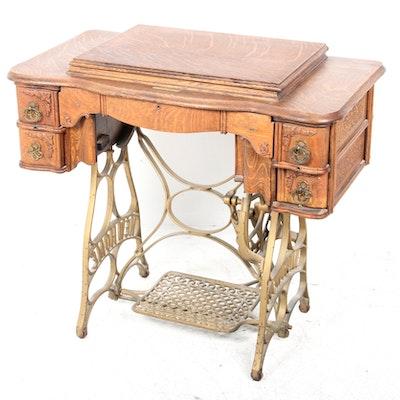 Antique Treadle Sewing Machine - Online Furniture Auctions Vintage Furniture Auction Antique