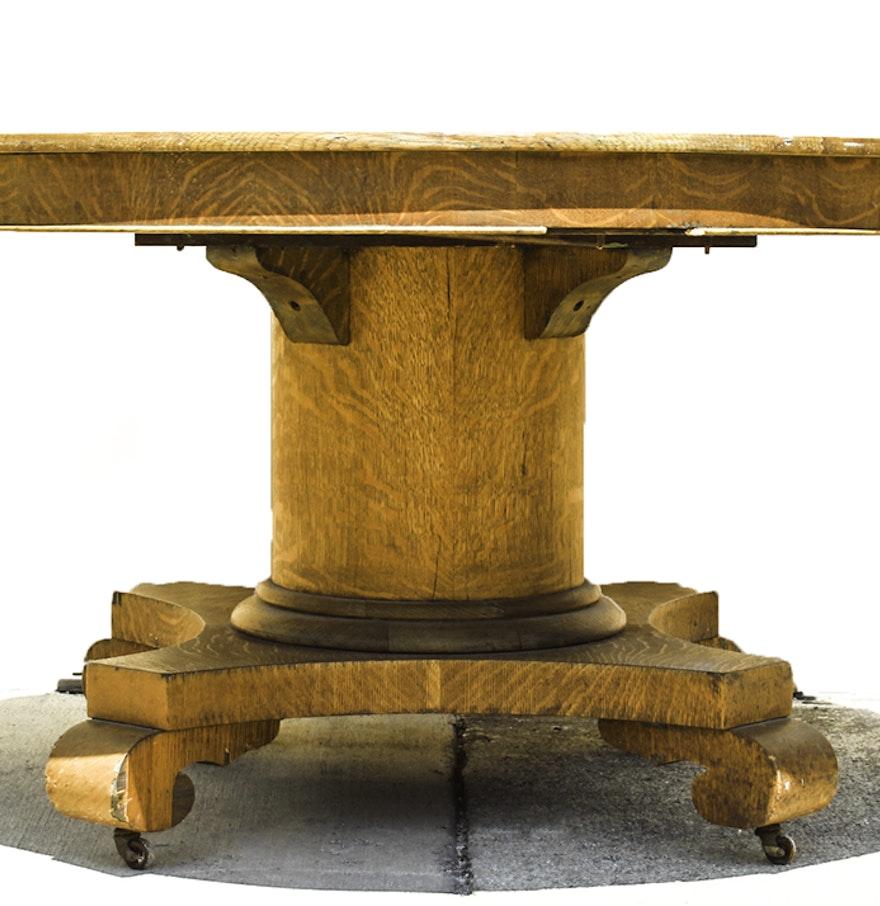 Antique American Empire Tiger Oak Dining Table : EBTH