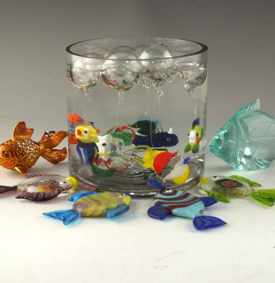 Floating blown glass fish murano glass fish and more ebth for Blown glass fish