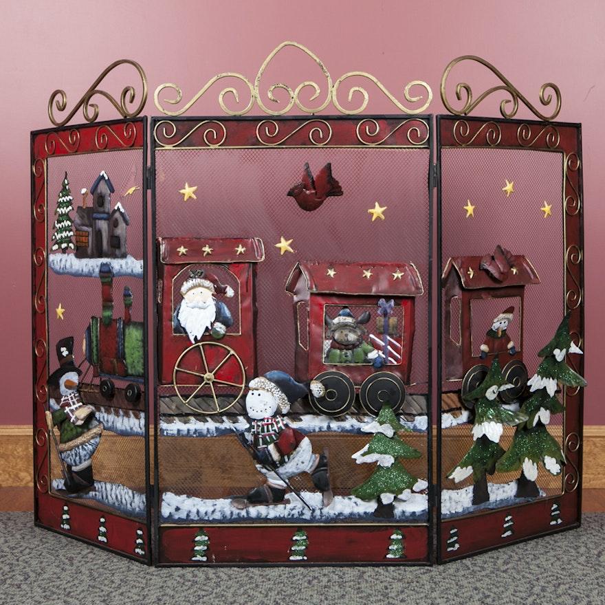 Christmas Fireplace Screen.Christmas Motif Fireplace Screen