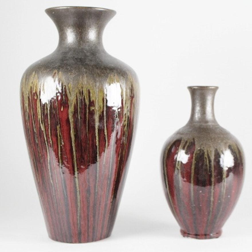 Pier 1 Drip Glaze Pottery Vases Ebth