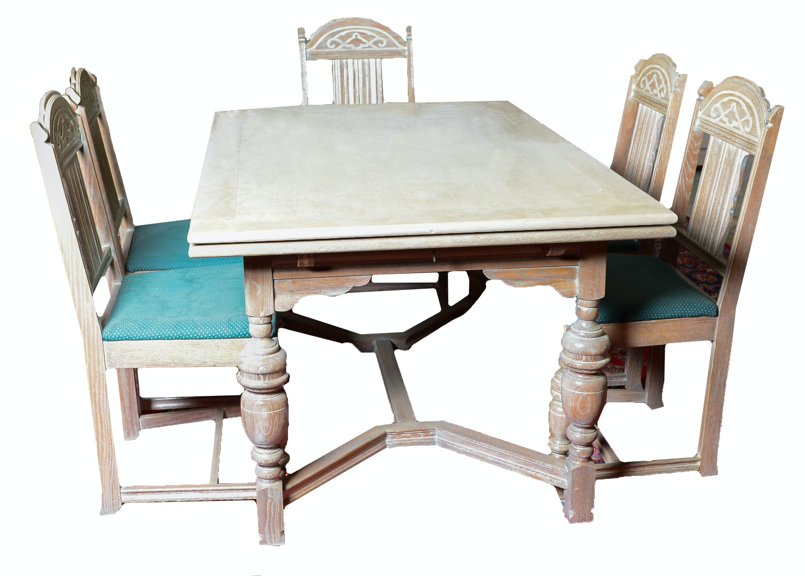 sixpiece carved oak dining set - Retro Chairs