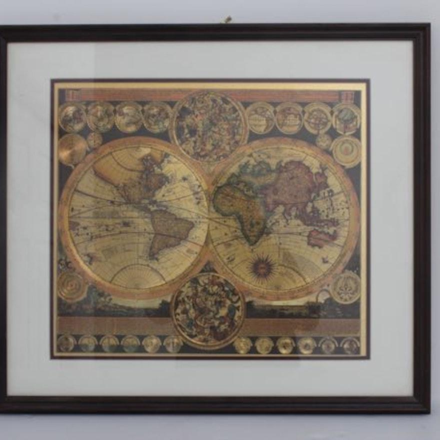Framed double hemisphere gold foil map ebth framed double hemisphere gold foil map gumiabroncs Gallery