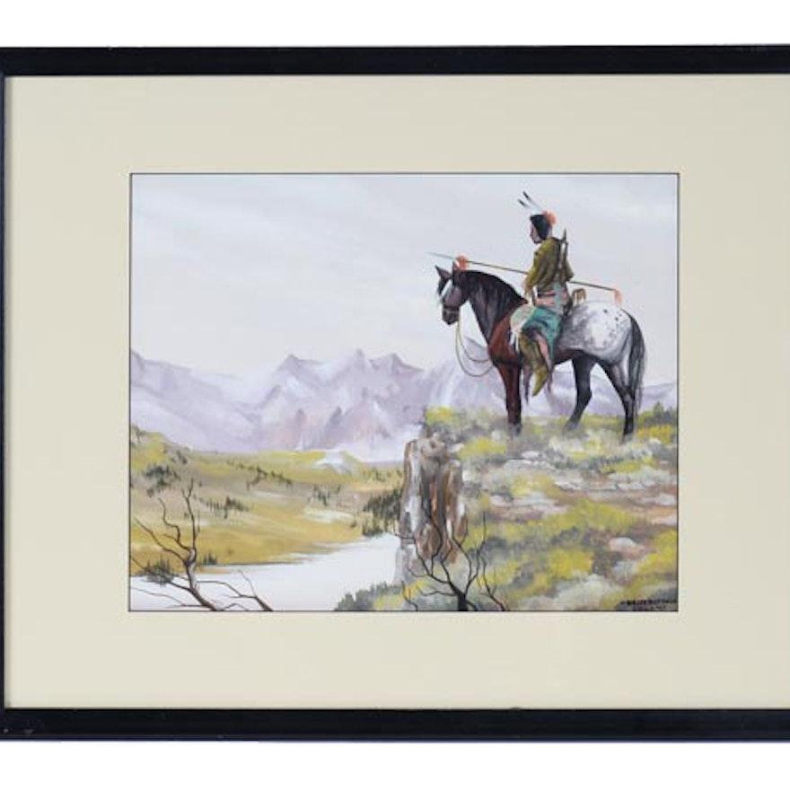 Original Gouache Painting by White Buffalo / Bobby Hill : EBTH