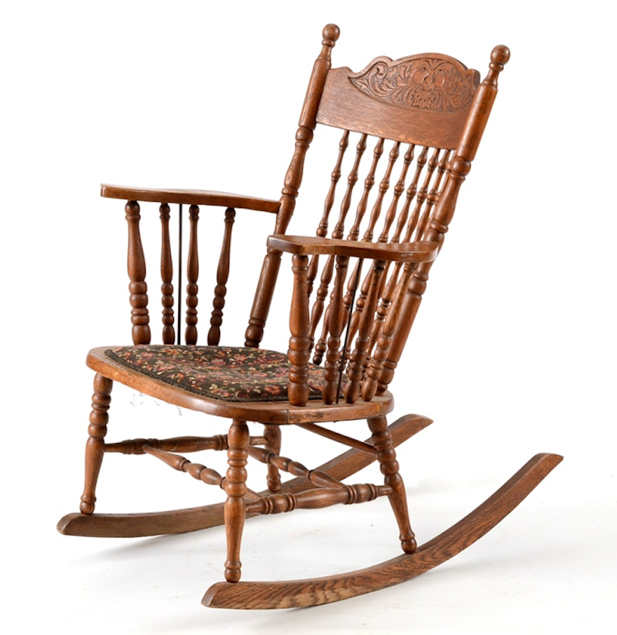 Victorian rocking chair - Late Victorian Oak Rocking Chair